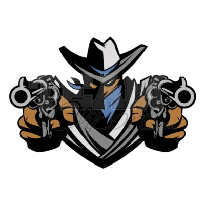 Ranger mascot aiming guns clipart