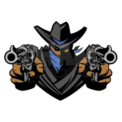 Bandit mascot aiming guns clipart