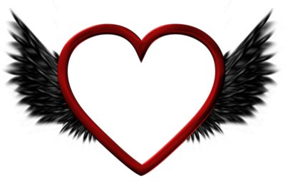 Red Transparent Heart with Black Wings PNG Picture
