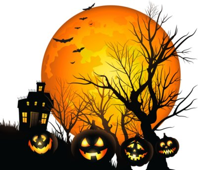 Large Haunted  House and Moon PNG Clipart