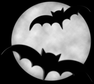 Halloween Moon with Bats PNG Clipart