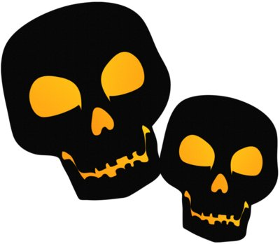 Large Black PNG Halloween Skulsl Clipart