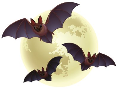 Creepy Halloween Moon with Bats PNG Clipart