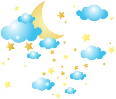 Moon Clouds and Stars PNG Clip Art Image