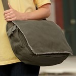 Raw-Edge Canvas Messenger Bag