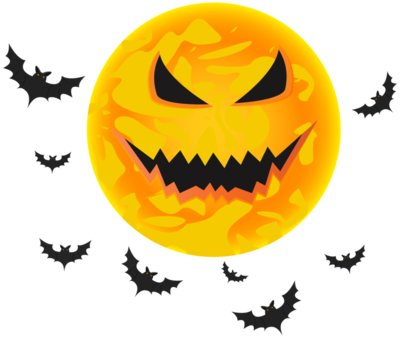 Halloween Yellow Moon and Bats Transparent Clip Art Image